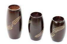 Set of 3 Wooden barrel shaped Tea light candle holders handmade Mango Wood