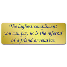 "Highest Compliments 3"" x 1"" Gold Foil Referral Stickers, Roll of 1,000 Labels"