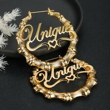 Personalized Custom Name Bamboo Earring Hip hop Sexy 18k Gold Fashion Jewelry