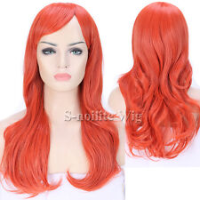 Pastel Pink Purple Red Long Ombre Cosplay Wig Curly Wavy Party Anime Wig Women w