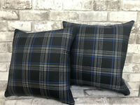 "2 X 17"" CAMPERVAN CUSHION T5 T6 T4 VW CADDY TARTAN FABRIC FAUX LEATHER NEW BLUE"