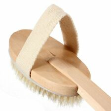 Wooden Bath Brush Back Scrubber Handle Detachable Brown FREE Postage