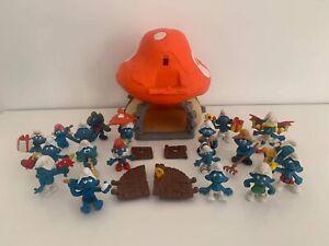 Lot 20 Figurines Schtroumpfs Schleich + 1 Grosse Maison Schleich Peyo 1976