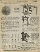 1923 Paper AD Diamond Edge Barnes Circular Saw Machine Hand Power Crank Atkins