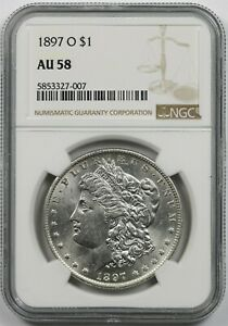 1897-O $1 NGC AU 58 (Better Date) Morgan Silver Dollar