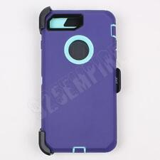 For iPhone 7 Purple/Teal Case Cover (Belt Clip Fits Otterbox Defender)