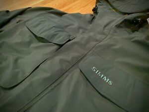 SIMMS. GORE-TEX Hooded Guide Jacket. XL. Dark Grey Green. WATERPROOF!