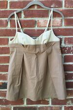 Hanii Y Brown Beige Taupe Formal Cocktail Blouse Cami Tank Top 40 S NEW Barney's