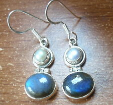 Cultured Pearl and Labradorite Ovals 925 Sterling Silver Dangle Earrings