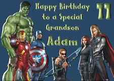 Avengers personalised A5 birthday card son dad brother nephew grandson name age