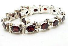 Vintage Sterling Silver Garnet Bracelet  925