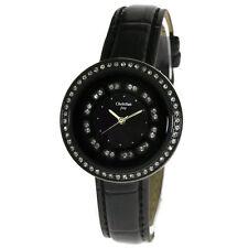 CJ Black Round Crystal Dial Leather Band Women Lady Bracelet Wrist Watch W1303