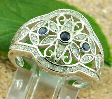 14k Solid White gold  Ladies Natural Blue Sapphire Diamond Ring 0.94 ct filigree