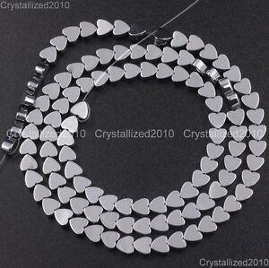 "Natural Hematite Gemstone Flat Heart Beads 4mm 6mm 8mm 10mm Metallic Colors 16"""