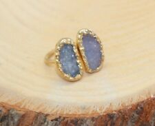 Unique Shape Natural Druzy Geode Stone Sterling Silver 18K Gold Plated Ring