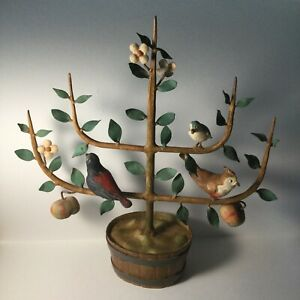 MCM Italian Metal Toleware~Apple Tree w/Birds-Tole Art