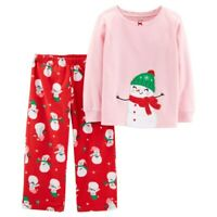 Toddler Girl Carter's Christmas Top & Microfleece Bottoms Pajama Snowman 2T 3T