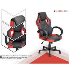 Executive Swivel Game Office Chair Race Car Style High Back Black & Red Leather