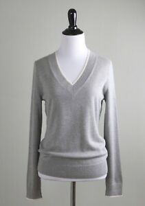 BROOKS BROTHERS NWT $148 Gray Silk & Cashmere V-Neck Sweater Top Size Small