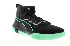 Puma Legacy Dark Mode 19341901 Mens Black Canvas Athletic Basketball Shoes
