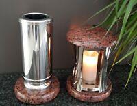 Grablaterne +Vase  Grablampe Lampe Grableuchte Grablicht Grabschmuck