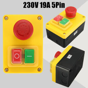 NVR Stop/Start Switch Button Universal KJD Lathe Mill Drill  With Emergency 230