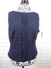 Vintage Escada Sleeveless Wool Top Womens Medium 44 Black Shirt Blouse Ladies