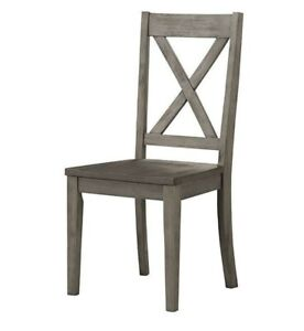 A-America Huron Solid Wood X-Back Dining Side Chair in Distressed Gray