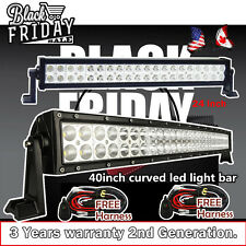 40inch Curved LED Light Bar + 24inch LED Light Bar Driving Offroad Jeep Truck 42