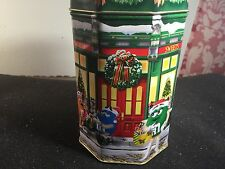1998 M&M's Candies Christmas Village Ltd Ed Candy Tin Metal Canister Box Jar Can