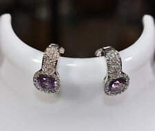 Amethyst & Diamond Convertible Clip-on Earrings in 18K White Gold