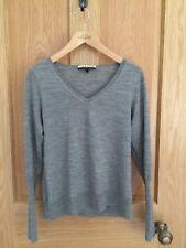 JAEGER Grey Wool FIne V Neck Sweater Jumper S M 8 -10