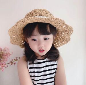 Summer Children's Straw Hat Girl Breathable Lace Cap Bow Beach Sun Hat Wide Brim