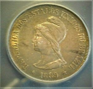 1889 Brazil 500 Reis Silver ICG- AU53 Condition Toning KM#494  (569)
