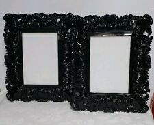 "Black Ornate Chunky Art Nouveau Baroque Decor Photo Frames Set of Two 5"" x 7"""