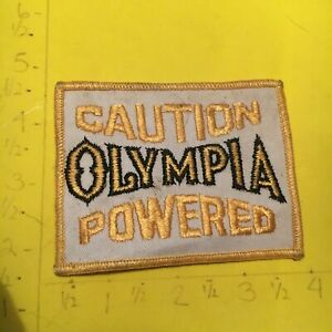 """VINTAGE PATCH """"CAUTION OLYMPIA POWERED"""" BEER COMPANY"""