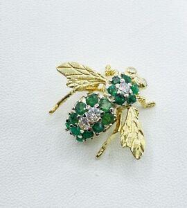 1.50 ct LARGE H Rosenthal DIAMOND EMERALD bee pin pendant 18K yellow GOLD VIDEO
