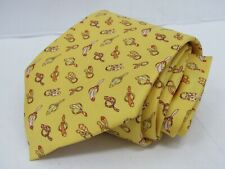 Salvatore Ferragamo Men's 100% Silk Yellow Tie Novelty Tie Made in Italy