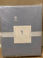 NEW Pottery Barn Kids Oxford SKULL Embroidered TWIN Duvet BLUE