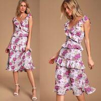 NEW Lulus Lavender Floral Print Ruffled Midi Dress Size S/M Retail $65