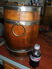 Vtg Antique Ice Box Portable Cooler Oak Wood Barrel