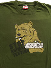 Busted Tees Bear Stop Animal Testing homework funny T-Shirt Sz.S