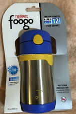 Thermos Foogo Vacuum Insulated Stainless Steel Straw Bottle (10 oz, Blue/Yellow)