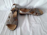 Hotter 'BEAM' Leather Comfort Concept Embellished Wedge Sandals  - In Beige - 6