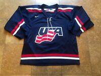 Vintage Nike Team USA Olympic Hockey Blue Jersey Mens Medium
