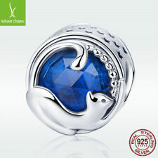 Blue Murano 925 Sterling Silver Charm Bead Happy Kitty Cat Fit Stylish Bracelet