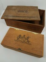 "Wood Cigarette & Cigar Vintage/Antique Boxes BACO &  ""Lion & Elk?"" Lot of 2"