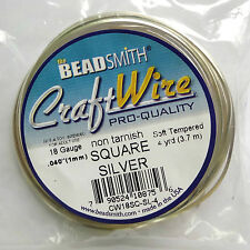 Silver Plated Copper  Square Wire 18 gauge 4 Yard
