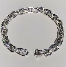 Men's Iced Out Custom Rolo Link Bracelet Solid 925 Silver Man Made Diamonds 6mm