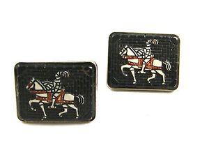 True Vintage Silvertone Knight On Horse Cufflinks Unmarked 110614